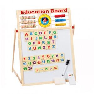 Tabla magnetica educativa pentru copii din lemn cu 5 functii 63x42cm