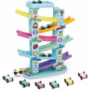 Circuit din lemn cu 6 masinute si 6 piste colorate Ramp Racer With Six Level Track
