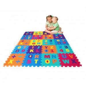 Covoras puzzle 30x30cm - Eva puzzle mats cu litere, cifre si semne matematice