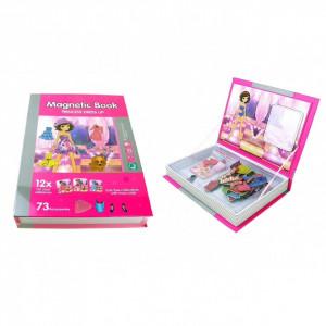 Joc educativ, carte puzzle cu piese magnetice Princess Dress Up