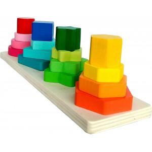 Joc sortare din lemn turn cu 4 forme