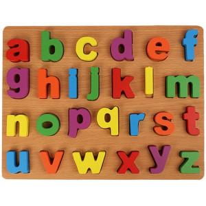 Puzzle incastru din lemn cu litere, cifre si semne matematice