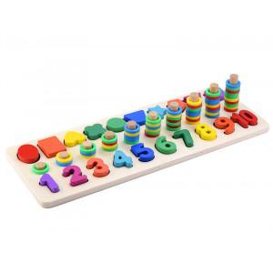 Joc educativ din lemn Montessori Three in one digital shape pairing
