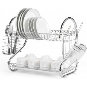 Suport de vase si tacamuri etajat cu 2 nivele uscator vase cu tava de plastic