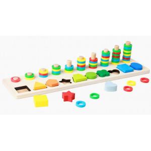Joc sortare din lemn 2 forme | Jucarie educativa Montessori din lemn | Shape pairing