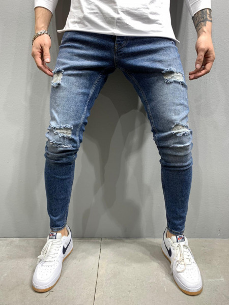 BLUGI SLIM FIT RUPTURI DARKBLUE COD : BGAS421