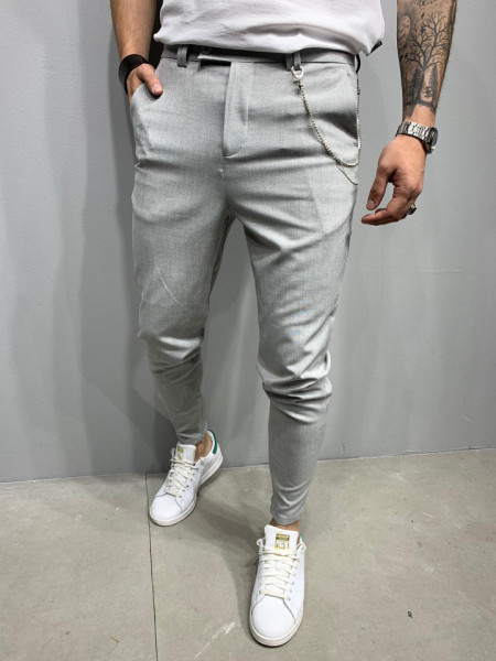 PANTALONI SLIM FIT ZIPPER GREY 2 COD : BGAS474