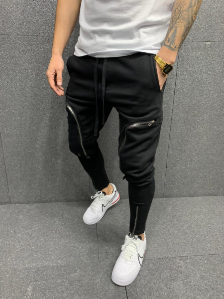 PANTALONI SLIM POCKET ZIPPER BLACK COD : BGAS529
