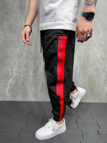 PANTALONI STRIPED BLACK&RED BGAS601(5271)