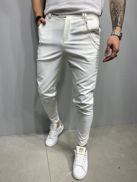 PANTALONI SLIM FIT ZIPPER WHITE 2 COD : BGAS473