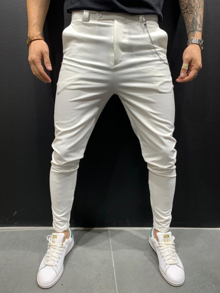 PANTALONI SLIM FIT ZIPPER WHITE COD : BGAS299
