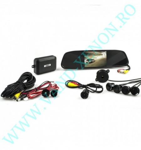 Senzori de parcare cu afisaj in oglinda si camera Cartech SM1830