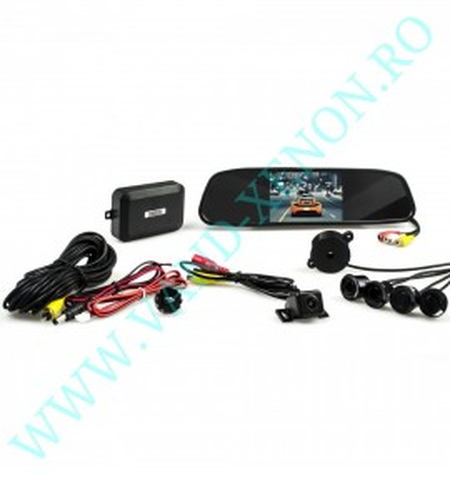 Senzori de parcare cu afisaj in oglinda si camera Cartech SM501