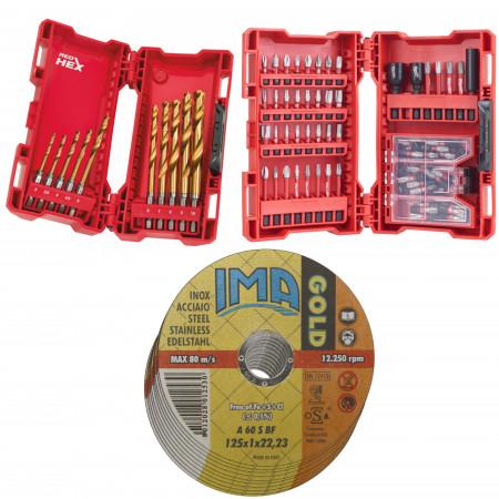 Set 10 burghie metal 1-10 mm + set 75 piese insurubare + 50 discuri taiat metal inox