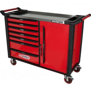 Carucior de atelier cu placa de lucru din inox, KS TOOLS RACINGline, 7 sertare, 1 use