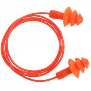 Dopuri de urechi cu cordon TPR (50 bucati), culoare Portocaliu