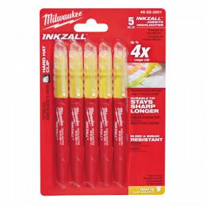 Marker Milwaukee INKZALL galben fosforescent - 5pc, pachet 5 buc