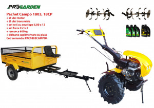 Pachet motocultor Campo 1803, benzina, EURO5, 18CP, 2+1 trepte, remorca 600kg ulei motor si transmisie incluse