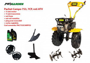 Pachet motocultor Campo 753, benzina, 7CP, 2+1 trepte, roti ATV, accesorii PS1, ulei motor si transmisie incluse
