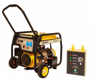 Stager FD 10000E+380V ATS generator open-frame 8kW, monofazat, benzina, automatizare trifazata