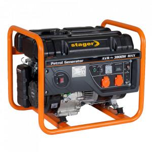 Stager GG 4600 generator open-frame 3.8kW, monofazat, benzina, pornire la sfoara