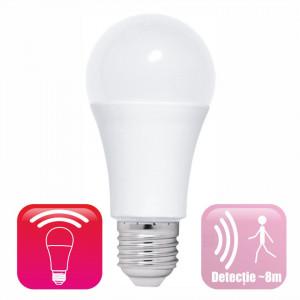 Bec LED cu senzor miscare microunde model glob A60 12W=100W 6400k lumina rece