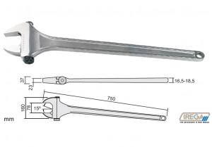 "Cheie reglabila cromata lunga cu falci la 15, DIM 750 mm, DESCHIDERE 78 mm (3""), AMB - 1"