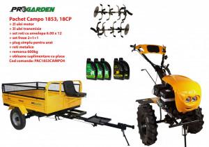 Pachet motocultor Campo 1853, benzina, EURO5, 18CP, 2+1 trepte, remorca 600kg ulei motor si transmisie incluse