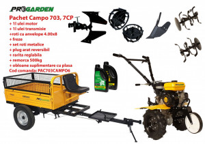 Pachet motocultor Campo 703, benzina, 7CP, 2+1 trepte, 2+1 freze, remorca 500kg, accesorii PR2, ulei motor si transmisie incluse