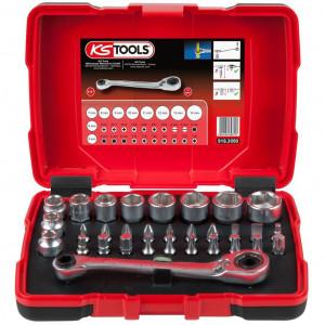 """Set chei tubulare KS TOOLS perforate 1/4"""" + 11 mm și biți, 31 piese"""