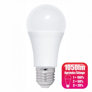 Bec LED dimabil de la intrerupator model glob A60 12W=100W 6400k lumina rece
