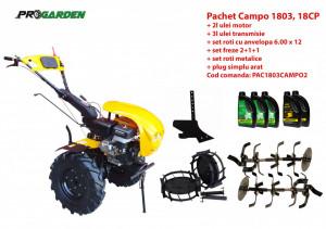 Pachet motocultor Campo 1803, benzina, EURO5, 18CP, 2+1 trepte, accesorii, ulei motor si transmisie incluse