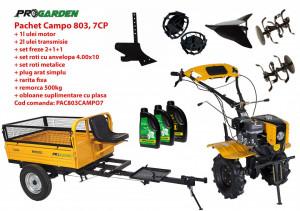 Pachet motocultor Campo 803, benzina, 7CP, 2+1 trepte, 2+1+1 freze, plug bilonat, remorca 500kg, accesorii PS1, ulei motor si transmisie incluse