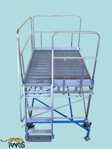 Platforma la 60 0 , mobila, rigidizata, baza otel, structura aluminiu,cu podina extinsa, tip PBE