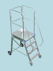 Scara mobila cu platforma, din aluminiu, la 70 grade, blocare la urcare, produs , tip PSF70