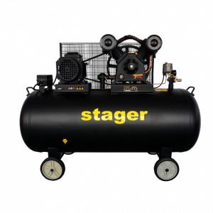 Stager HMV0.6/370-10 compresor aer, 370L, 10bar, 600L/min, trifazat, angrenare curea