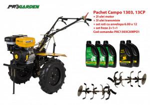 Pachet motocultor Campo 1303, benzina, 13CP, 2+1 trepte, ulei motor si transmisie incluse