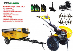 Pachet motocultor Campo 1803, benzina, EURO5, 18CP, 2+1 trepte, remorca 600kg, accesorii, ulei motor si transmisie incluse