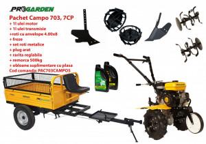 Pachet motocultor Campo 703, benzina, 7CP, 2+1 trepte, 2+1 freze, remorca 500kg, accesorii PS1, ulei motor si transmisie incluse