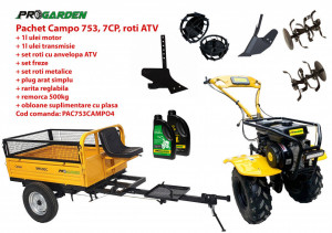 Pachet motocultor Campo 753, benzina, 7CP, 2+1 trepte, roti ATV, remorca 500kg, accesorii PS1, ulei motor si transmisie incluse