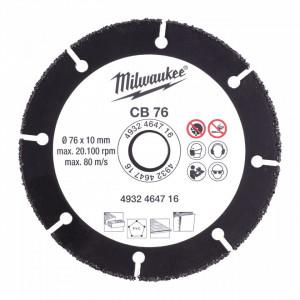 Disc din carbura Milwaukee 76mm, pentru lemn, plastic, gips-carton
