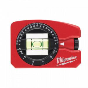 Nivela magnetica de buzunar Milwaukee 7.8 cm lungime, bulă ajustabila la 360° pentru citirea unghiurilor