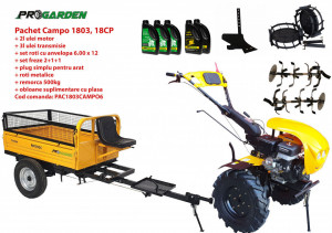 Pachet motocultor Campo 1803, benzina, EURO5, 18CP, 2+1 trepte, remorca 500kg, accesorii, ulei motor si transmisie incluse