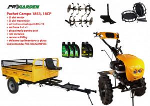 Pachet motocultor Campo 1853, benzina, EURO5, 18CP, 2+1 trepte, remorca 600kg, accesorii, ulei motor si transmisie incluse