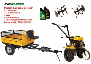 Pachet motocultor Campo 703, benzina, 7CP, 2+1 trepte, 2+1 freze, remorca 500kg, ulei motor si transmisie incluse