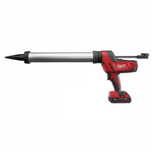 Pistol de silicon tub 600 ml aluminiu Milwaukee C18 PCG/600A-201B, livrat cu acumulator, geanta