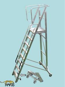 Scara platforma aluminiu , trepte late, blocare la picior, mobila, pliabila, tip SPMS