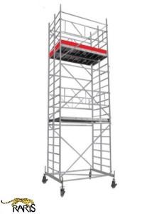 Schele , profesionale, mobile, din aluminiu, cu suprafata podina 1,6x1,4 m, Hlucrumax: 4,3-14,3 m, tip W1,6