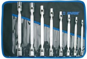Set de chei tubulare dublu articulate in husa, 8-22 mm, 8 piese