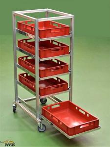 Carucioare-sistem din aluminiu pentru navete EURO 600-400 mm, tip CSNE